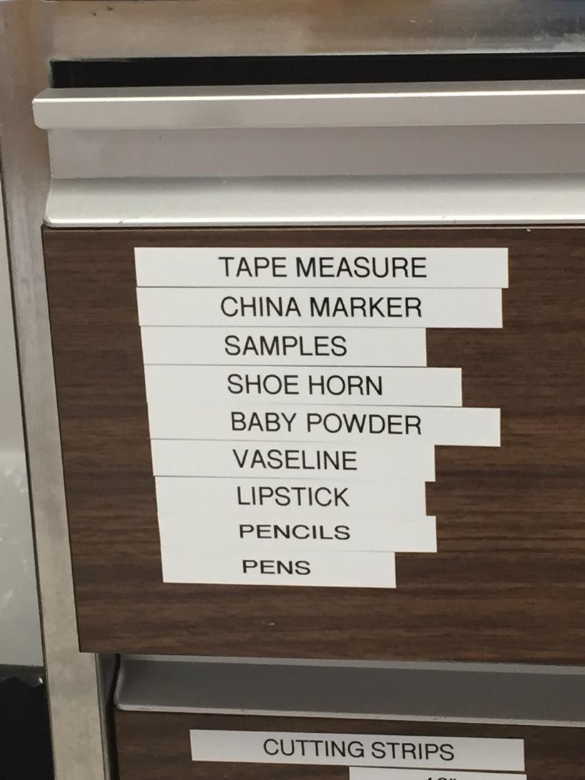 List on drawer at Glenrose